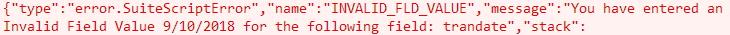 Invalid Field Value error